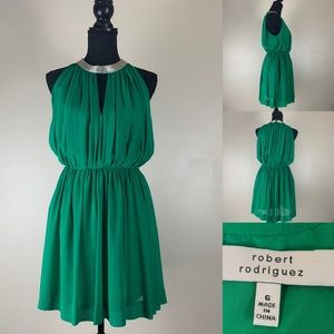 Robert Rodriguez Cocktail Dress With Silver Collar